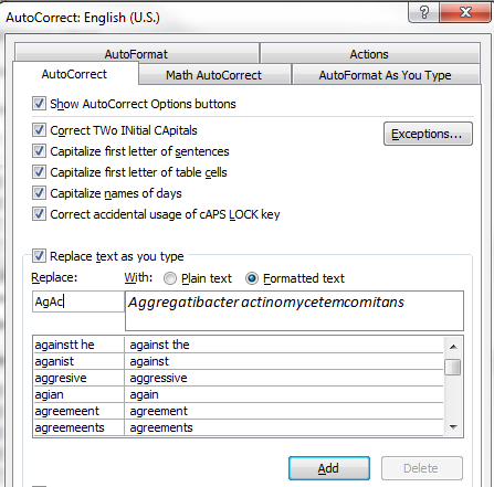 Formatted text in Word AutoCorrect