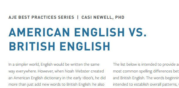 American English vs. British English - AJE