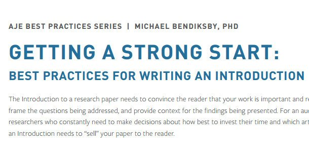 Getting a Strong Start: Best Practices for Writing an Introduction