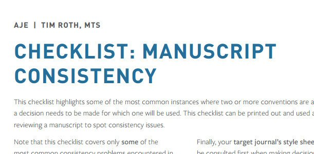 Maintaining Consistency in Academic Writing and Research Manuscripts: A Free Checklist