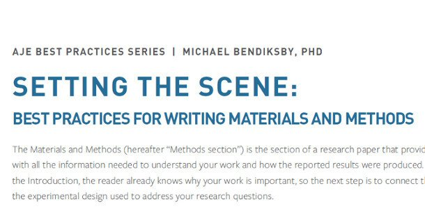 AJE Tips for Writing Materials and Methods Section