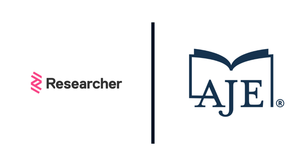 AJE Teams with Researcher App to Support Scholarly Authors
